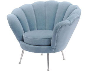 BLUE VELVET SHELL CHAIR - Halcyon Collection Willowbay